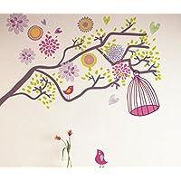 樱のホーム 鳥かごカラフルな花のブドウの枝の取り外し可能な自己接着壁画アートデカール壁ステッカー(多色)