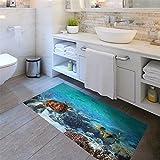 Yanqiao 床用のステッカー 海亀が海に遊んでいる 防水 防滑 板敷きの床のマット 欧米風 おしゃれでかわいい 床飾り