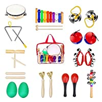 JYFY 12 Pcs Percussion Toy Rhythm Band Xylophone Set Kids Musical Instruments for Kids Preschool Educational with Carrying Bag [並行輸入品]