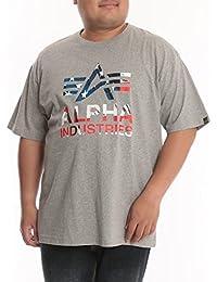 (アルファインダストリーズ) ALPHA INDUSTRIES INC 大きいサイズ メンズ 綿100% USAプリント クルーネック 半袖 Tシャツ グレー / 3L