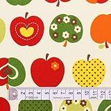 おしゃれリンゴのひみつ(アイボリー) オックス生地 (布地タイプ) ハンドメイド 手作り用生地 入園入学 入園準備 入学準備 T0052000