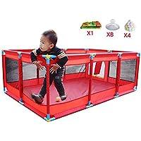 ベビープレイペン レッドロングフェンス赤ちゃん屋内プレイフェンス赤ちゃん幼児フェンスホームボールプール(200海洋ボール)