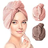 Hair Turban Towel Wraps 2 Pack, TERSELY Dry Hair Cap Quick Drying Lady Towel Superfine Fiber Bath Head Wrap