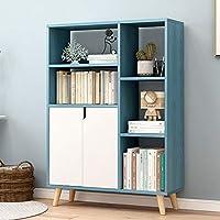 本棚 2つのシェーカードア付きのCD・レコードブックホームオフィスインテリア近代本棚スクエアストレージキャビネット ホーム本棚 (Color : Blue, Size : 105x72x24cm)