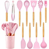 Caliamary Silicone Kitchen Utensil Set, 11 Pieces Cooking Utensil with Wooden Handles, Utensil Holder for Nonstick Cookware,