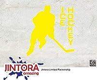 JINTORA ステッカー/カーステッカー - Ice Hockey - アイスホッケー - 87x93mm - JDM/Die cut - 車/ウィンドウ/ラップトップ/ウィンドウ- 黄色