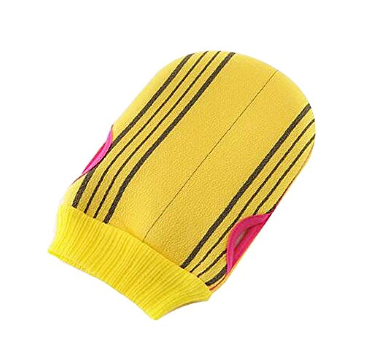 かどうかバラ色交流するソフトボディークリーニングバスグローブタオルバス剥離ミトン1枚、黄色