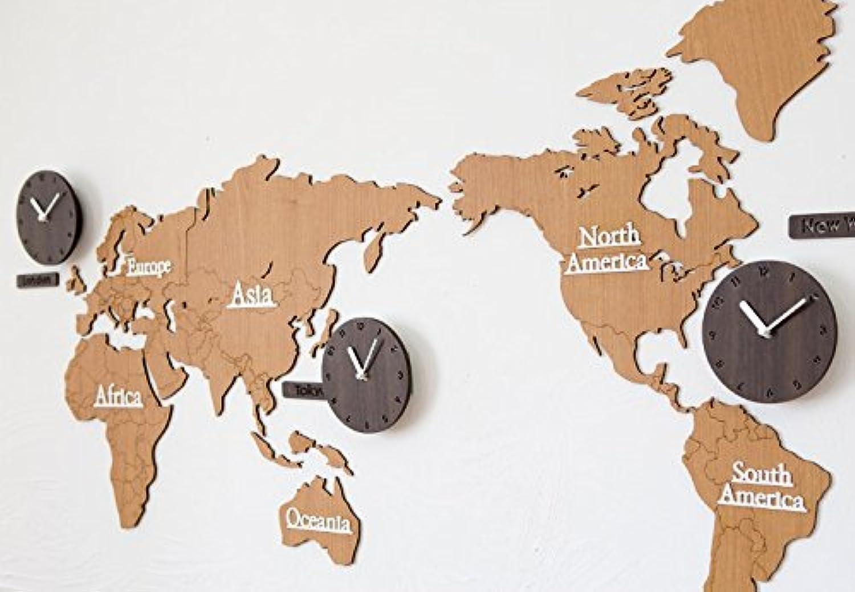 ハンドメイドの壁掛け時計 世界地図 WORLD TIME BIO