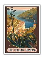 イタリアンリヴィエラ - ポルトフィーノ、イタリア - ビンテージな世界旅行のポスター によって作成された マリオ・ボルゴニ c.1920 - アートポスター - 23cm x 31cm