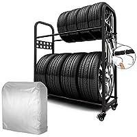 MEICHEPRO タイヤラック タイヤスタンド 2段式タイヤラック 8本タイヤ収納 耐荷重200kg (タイヤラック(ブラック).+カバー+キャスター)