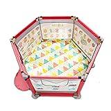 SYY-ベビーベビーサークル ベビーベビーサークル、デュアル使用パッド、オーシャンボールフェンス幼児粉々に強い屋内世帯 (Color : Pink+Dual-use pad+Ocean ball)