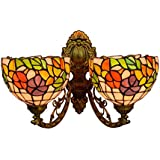 Tiffany Style Morning Glory Wall Sconce Lights Pastoral Floral Stained Glass Wall Lamp 2 Arms Wall Lights for Bedroom Living Room Hallway Balcony, 8-Inch