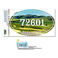 72601 ハリソン, WITH - 緑緩やかに起伏している丘陵 - 楕円形郵便番号ステッカー