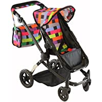 Stylish Doll Stroller, with Swiveling Wheels & Adjustable Handle and FREE Diaper Bag by Little Sisters