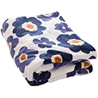 毛布 プレミアムマイクロファイバー 洗える 静電気防止 とろける肌触り 花柄 シングル ネイビー mofua fondan フォンダン