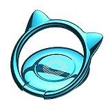 スマホリング バンカーリング 猫耳 薄型 ホールドリング スタンド 360回転 落下防止 マグネット 車載ホルダー 対応 iPhone/Android各種スマホ対応 (ブルー) ring-cat-bl