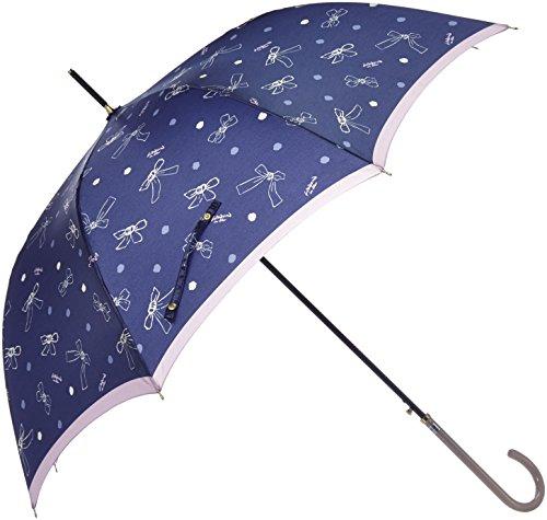 (ランバン オン ブルー)LANVIN en Bleu 婦人ジャンプ式長傘 【耐風傘】軽量 リボン柄 21-084-08650-00 74-60 ネイビー 親骨の長さ 60cm