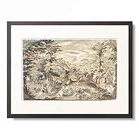 作者不明 (Master of the St Petersburgh Sketch Book) 「Landscape with pig chase.」 額装アート作品
