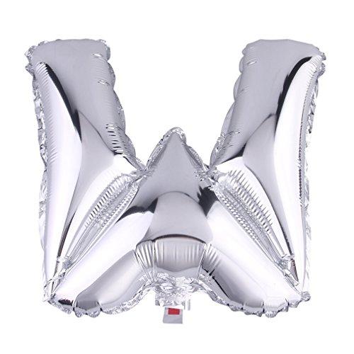 (ラボーグ) La Vogue アルミ風船 レター風船 バルーン 16インチ 40cm A-Z英字自由選択 イベント 二次会 パーティー 結婚式用品 装飾 飾り シルバー 1枚入れ W銀色文字