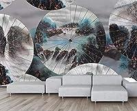 Bzbhart カスタム壁紙風景傘抽象的な中国絵画テレビの背景の壁の壁画3Dの壁紙-250cmx175cm