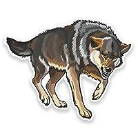 2 x 15cm 狼 - ノートPCやタブレット用ビニールステッカー #9172
