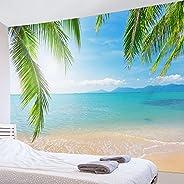 LB 沙灘風景掛毯 海和椰子樹 自然 室內裝飾 織物裝飾品 時尚 多功能掛壁 現代 照片 房間 窗戶窗簾 店 禮品 慶祝 布 藍色 200x150cm