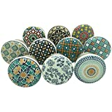 Set of 10 Colorful Mandala Ceramic Drawer Knobs Door Pulls Cupboard Pull Kitchen Cabinet Puller Mixed Knob