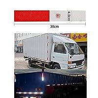 4PCSカーReflectiveWarningストリップ反射トラックのオートsuppliesDriving安全Seの赤白ステッカー4.8 * 30センチメートル