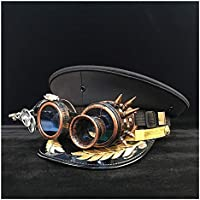 2020 Womens Hats Caps Steampunk Germany Officer Visor Cap Army Hat Gear Glasses Cortical Military Hat Police Cap Cosplay Halloween Hat Fashion Casual Soft Decoration (Color : Black, Size : 56cm)