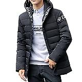 ダウンジャケット コート メンズ アウトドアウエア 中綿 厚手 柔らかい 軽量 防寒防風 フード付く 秋冬 上品 大きいサイズ カジュアル 暖かい ファッション(L,ブラック)