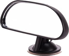 ベビーミラー 車用 補助ミラー 後ろ向き インサイトミラー 後部座席 角度調節 死角防止 360度調節可能 曲面鏡 ガラス飛散防止 吸盤とクリップ付 ブラック