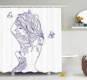 Young Girl with Tattoos and Butterflies Free Your Soul Inspired Long Hair Feminine Image Purple White 69W X 70L Inches Bathroom Accessories Ambesonne Girly Decor Shower Curtain Set