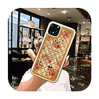 レトロフローラルフラワーチェックグリッターグリッドスパンコールソフトシリコンTPUカバーiPhone X XR XS 11プロマックス8 7 6 6 sプラスケース-ゴールドD02-iPhone 11の場合