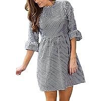 cooholeレディースセクシーファッション秋ストライプ印刷ドレス半分パフスリーブミニドレスパーティードレス