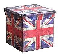 KitMall 収納 椅子 BOX スツール オットマン ビンテージ調 折りたたみ可 幅32cm (UK)