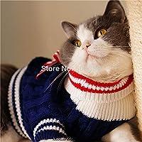 猫子猫テディChuahua用セーターセーラースタイル子犬犬ペットプルオーバー服XXS-XL青赤:青、M