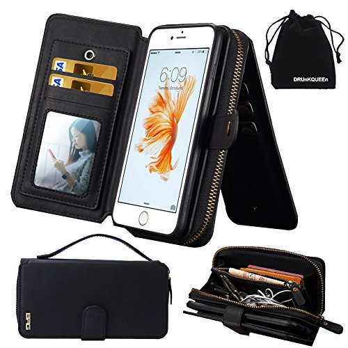 iPhone 6s Plus Case ケース, iPhone 6 Plus Case ケース, Premium Zipper Wallet Leather Detachable Magnetic Case Purse Clutch with Black Flip Credit Card Holder Cover for iPhone 6Plus iPhone 6sPlus - black