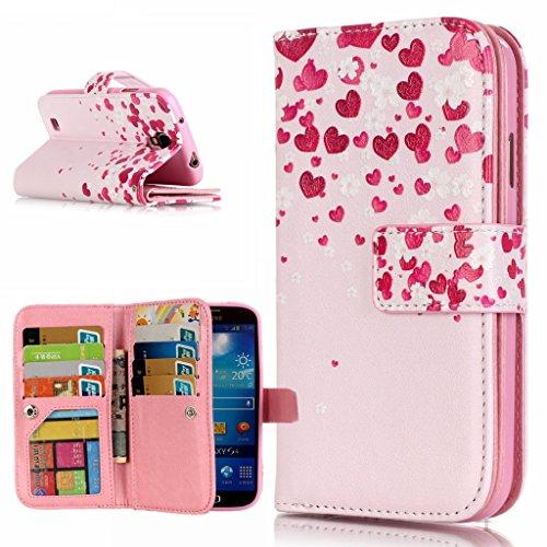 OMATENTI Samsung Galaxy S4 用 PUレザー手帳型ケース [強化ガラスフィルムを無料で贈ります] [無期限生涯補償付き] 耐摩擦 耐汚れ 全面保護 フリップ 人気 横開き スマートフォン カバー (ピンク #1)