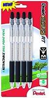 Pentel R.S.V.P. RT New Retractable Ballpoint Pen Medium Line Black Ink 4 Pack (BK93BP4A) [並行輸入品]