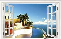 【ノーブランド品】【地中海の窓辺ステッカー】ws-012大きめサイズ ウォールステッカー ウォールペーパー シール