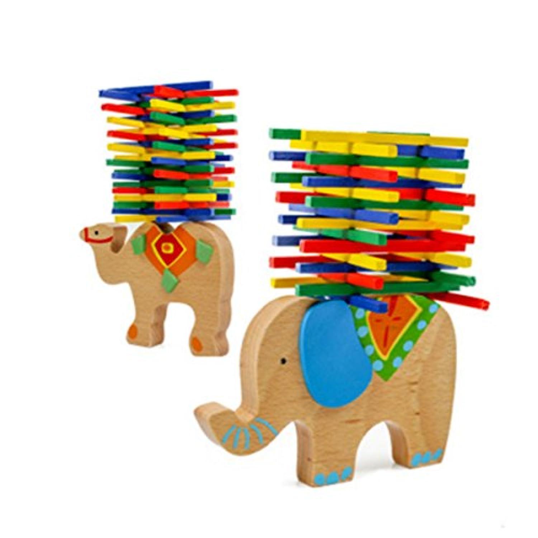 木製パズルStacking建物ブロック子象バランスビームカラフルブロック木製玩具、子供の教育ギフト40ピース