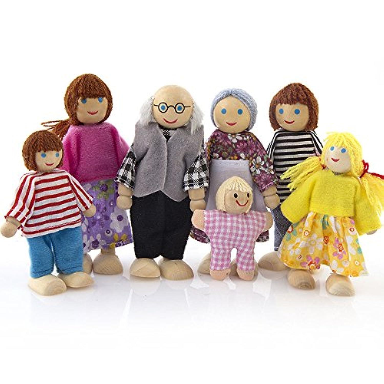 Rong ハロウィン 木製家具 ドールハウス ファミリー ミニチュア 7人の人形 人形 おもちゃ 子供用 A ブラック aaa