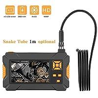 4.3インチLCDスクリーン検査カメラ1080P HDボアスコープ工業用内視鏡、デジタルセミリジッドIP67防水ビデオ録画ハンドホールドカメラ、1.6-198インチ焦点距離、2600mAhバッテリー、1メートル