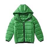 M2C 子供 ダウンコート 軽量 ライトダウン 男の子ジャケット 防寒 アウドドア 男女兼用 登山 通学(グリーン,110cm)