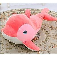 HuaQingPiJu-JP イルカ45センチメートルソフトぬいぐるみピロー動物ぬいぐるみギフト子供ホームぬいぐるみ(ピンク)