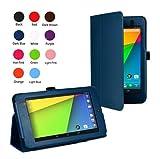 【wisersオリジナル】 5点セット 2013 Google New Nexus 7 FHD 2nd 2 専用ケース カバー スタンド機能付き Nexus7 2 7インチ Android 4.3 タブレット 紺、ブルー アンチグレア液晶、OTGケーブル、タッチペン、microUSBカバー