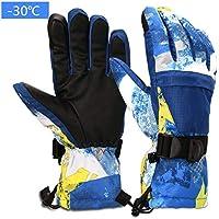 Yobenki スキーグローブ 手袋 子供用 暖かい グローブ 防水 防寒 保温 厚手 中綿 冬 雪上スポーツ スキー 雪遊び ポーツ ユニセックス