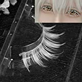 Murakush 偽まつげ 1ペア/セット ホワイト 合成繊維 カーリング 厚い 3D ナチュラル ロング 手作り 女性 レディーズ ファッション コスプレ 仮装 目 メイクアップ 美容院 サロン ツール