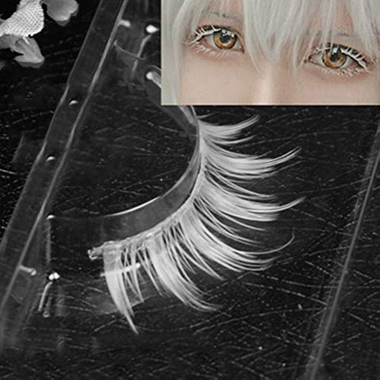 核簿記係朝の体操をするMurakush 偽まつげ 1ペア/セット ホワイト 合成繊維 カーリング 厚い 3D ナチュラル ロング 手作り 女性 レディーズ ファッション コスプレ 仮装 目 メイクアップ 美容院 サロン ツール