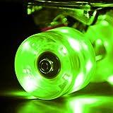 LED スケートボード ウィール Skateboard Wheels 59x45mm 4個セット(グリーン)【Wonnv】